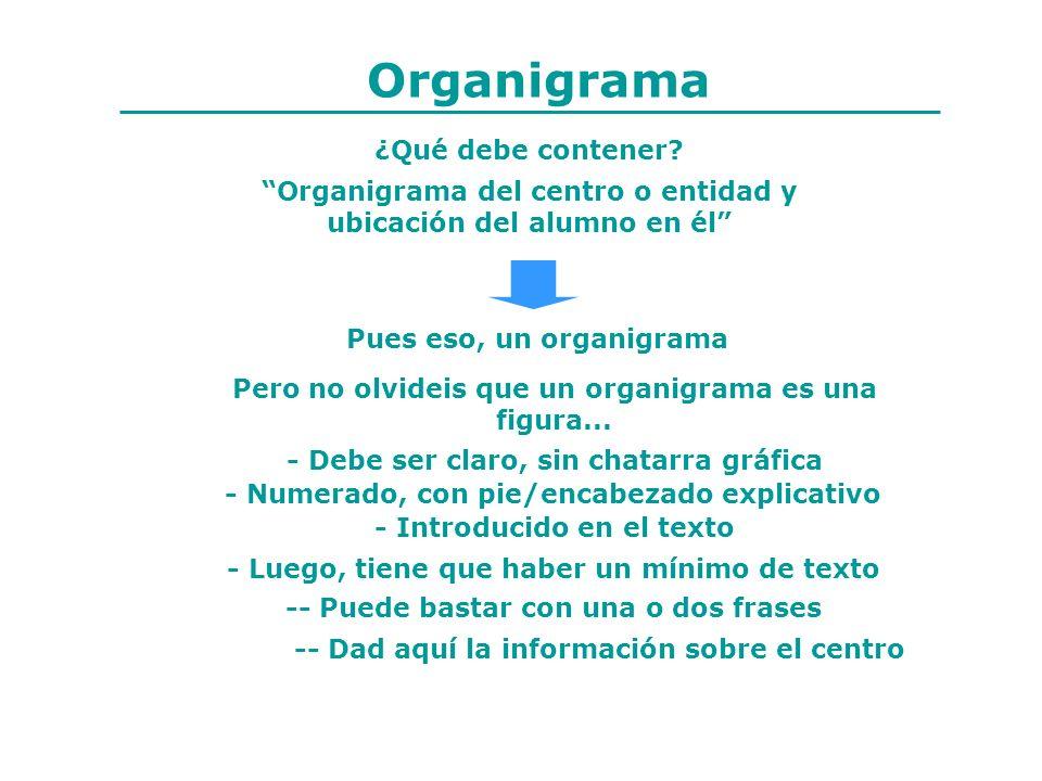 Organigrama ¿Qué debe contener? Organigrama del centro o entidad y ubicación del alumno en él Pues eso, un organigrama Pero no olvideis que un organig
