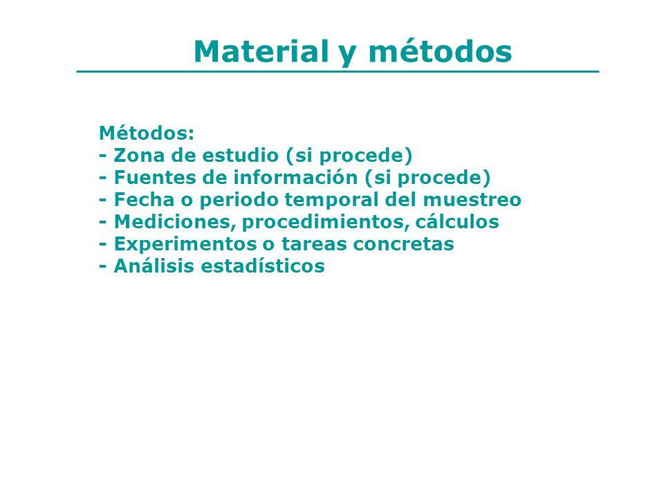 Material y métodos Métodos: - Zona de estudio (si procede) - Fuentes de información (si procede) - Fecha o periodo temporal del muestreo - Mediciones,