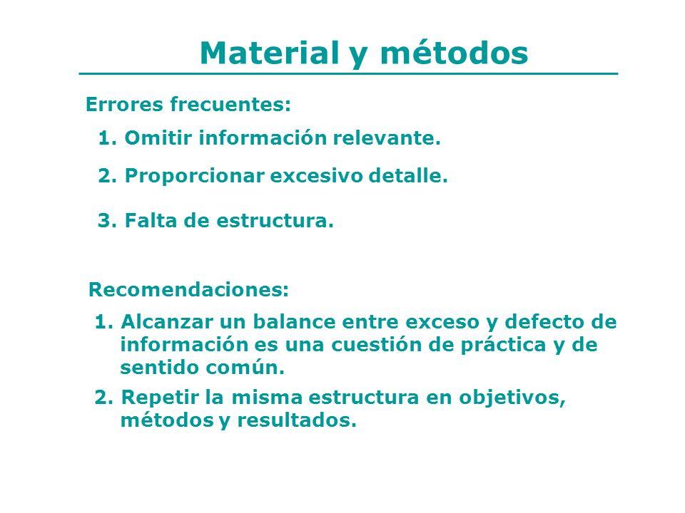 Errores frecuentes: 1. Omitir información relevante. 2. Proporcionar excesivo detalle. 3. Falta de estructura. Recomendaciones: 1. Alcanzar un balance