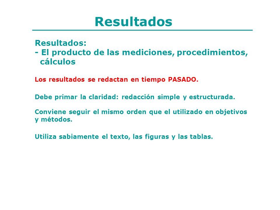 Resultados Resultados: - El producto de las mediciones, procedimientos, cálculos Debe primar la claridad: redacción simple y estructurada. Conviene se