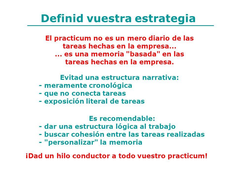Definid vuestra estrategia El practicum no es un mero diario de las tareas hechas en la empresa...... es una memoria