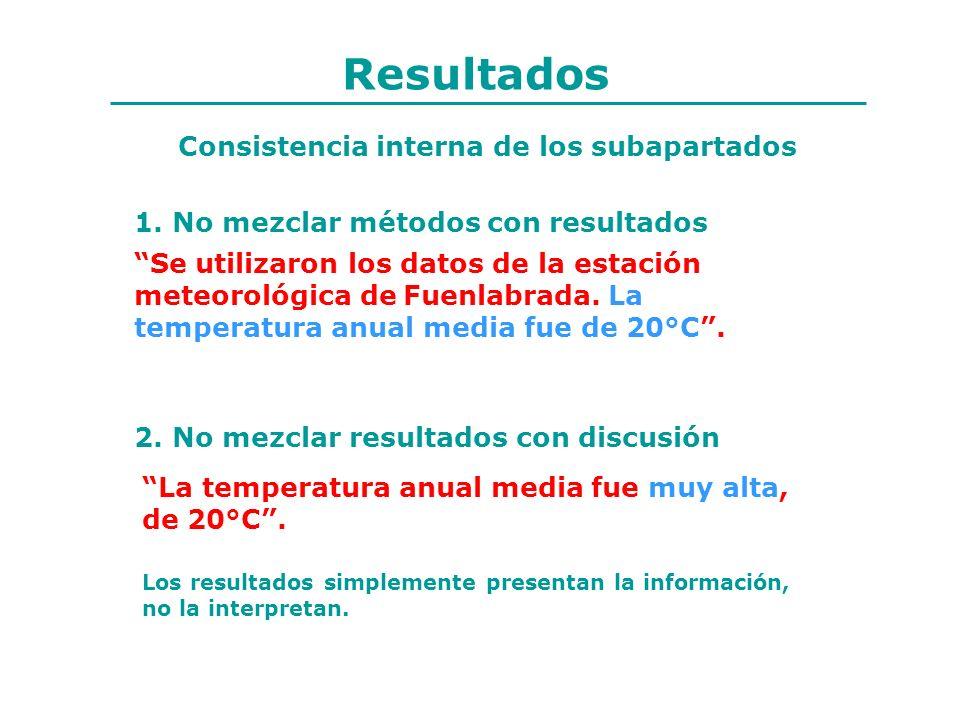 Resultados 1. No mezclar métodos con resultados 2. No mezclar resultados con discusión Consistencia interna de los subapartados Se utilizaron los dato