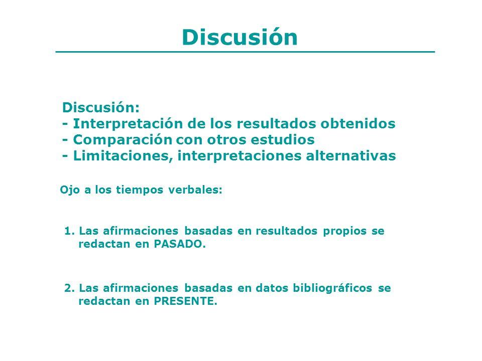 Discusión Discusión: - Interpretación de los resultados obtenidos - Comparación con otros estudios - Limitaciones, interpretaciones alternativas Ojo a