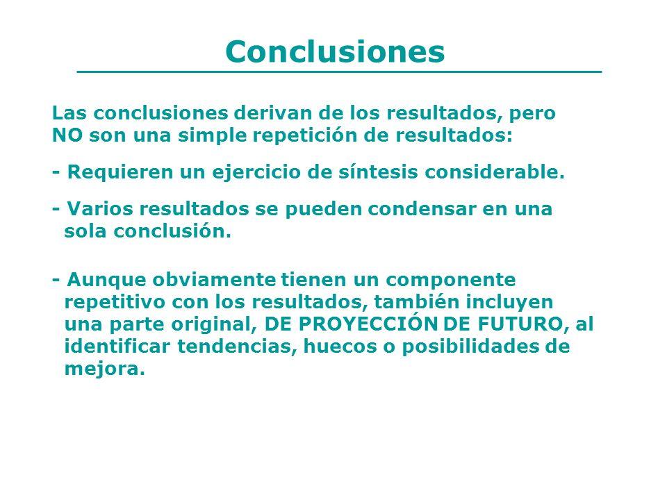 Conclusiones - Requieren un ejercicio de síntesis considerable. - Varios resultados se pueden condensar en una sola conclusión. - Aunque obviamente ti