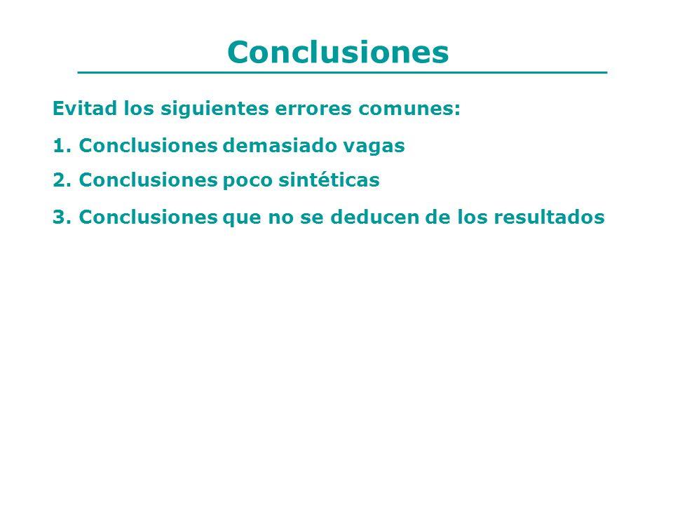Evitad los siguientes errores comunes: 1. Conclusiones demasiado vagas 2. Conclusiones poco sintéticas 3. Conclusiones que no se deducen de los result