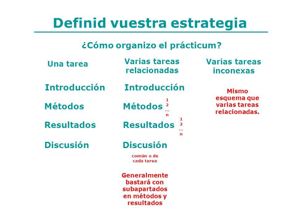 Métodos Resultados Discusión ¿Cómo organizo el prácticum? Métodos Resultados Discusión Introducción Una tarea Varias tareas relacionadas Varias tareas