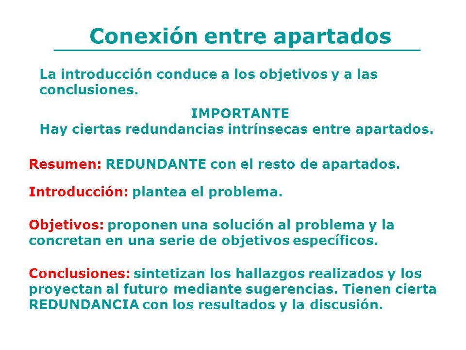 Conexión entre apartados Resumen: REDUNDANTE con el resto de apartados. Introducción: plantea el problema. Objetivos: proponen una solución al problem