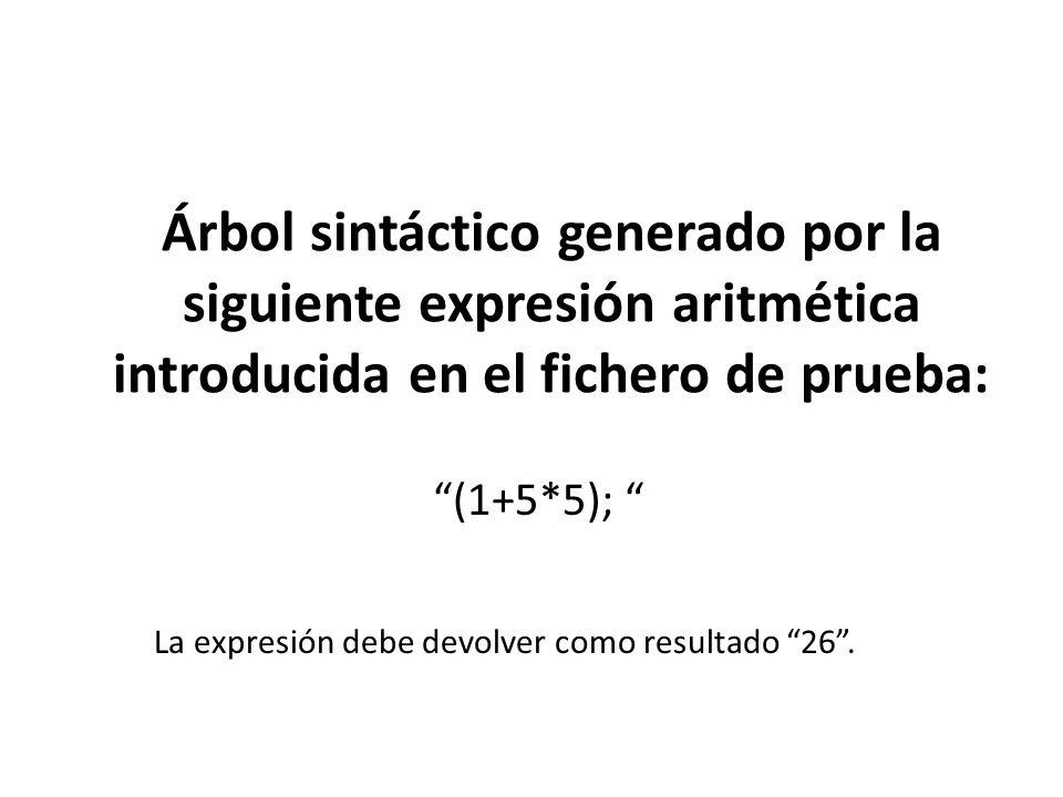 Árbol sintáctico generado por la siguiente expresión aritmética introducida en el fichero de prueba: (1+5*5); La expresión debe devolver como resultado 26.