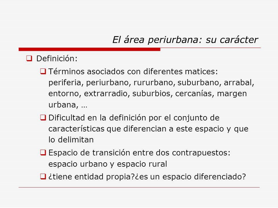 El área periurbana: su carácter Definición: Términos asociados con diferentes matices: periferia, periurbano, rururbano, suburbano, arrabal, entorno,