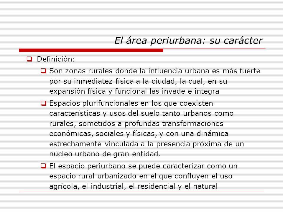 El área periurbana: su carácter Definición: Son zonas rurales donde la influencia urbana es más fuerte por su inmediatez física a la ciudad, la cual,