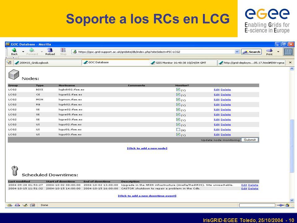 IrisGRID-EGEE Toledo, 25/10/2004 - 10 Soporte a los RCs en LCG