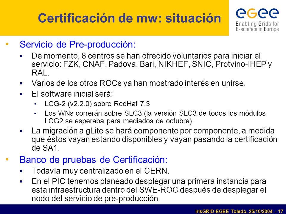 IrisGRID-EGEE Toledo, 25/10/2004 - 17 Certificación de mw: situación Servicio de Pre-producción: De momento, 8 centros se han ofrecido voluntarios para iniciar el servicio: FZK, CNAF, Padova, Bari, NIKHEF, SNIC, Protvino-IHEP y RAL.