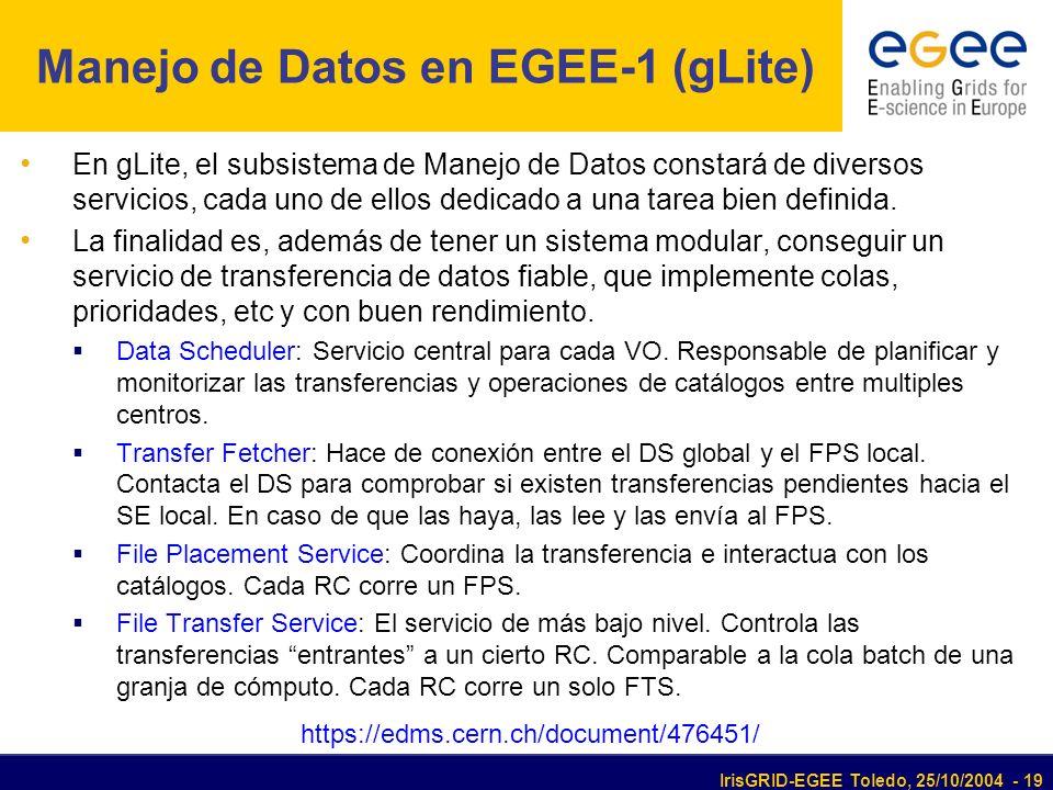 IrisGRID-EGEE Toledo, 25/10/2004 - 19 Manejo de Datos en EGEE-1 (gLite) En gLite, el subsistema de Manejo de Datos constará de diversos servicios, cada uno de ellos dedicado a una tarea bien definida.