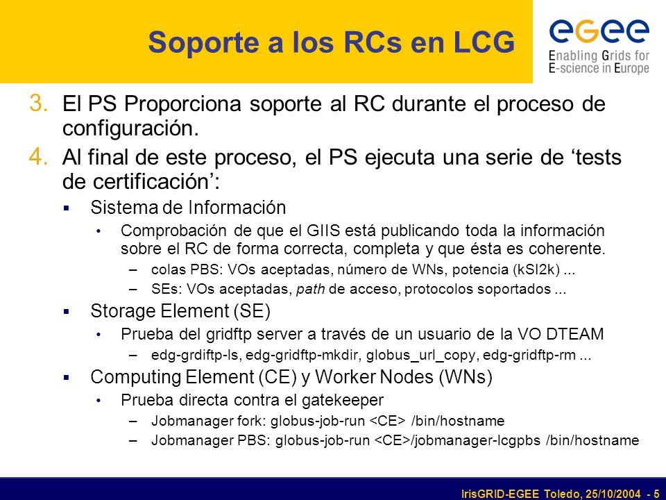 IrisGRID-EGEE Toledo, 25/10/2004 - 5 Soporte a los RCs en LCG 3. El PS Proporciona soporte al RC durante el proceso de configuración. 4. Al final de e