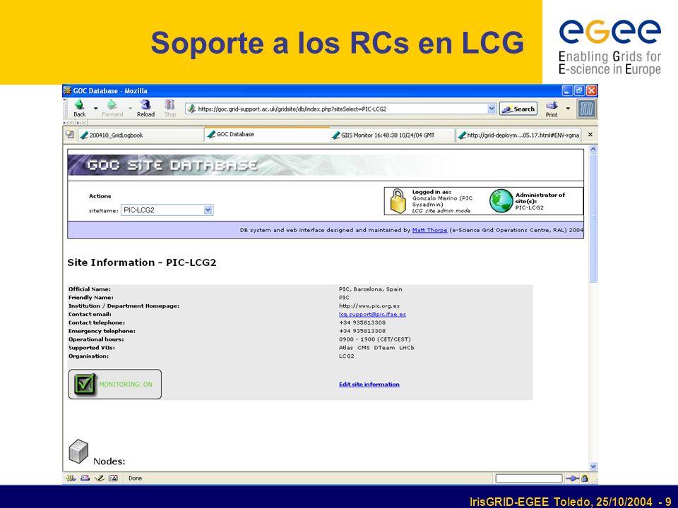 IrisGRID-EGEE Toledo, 25/10/2004 - 9 Soporte a los RCs en LCG