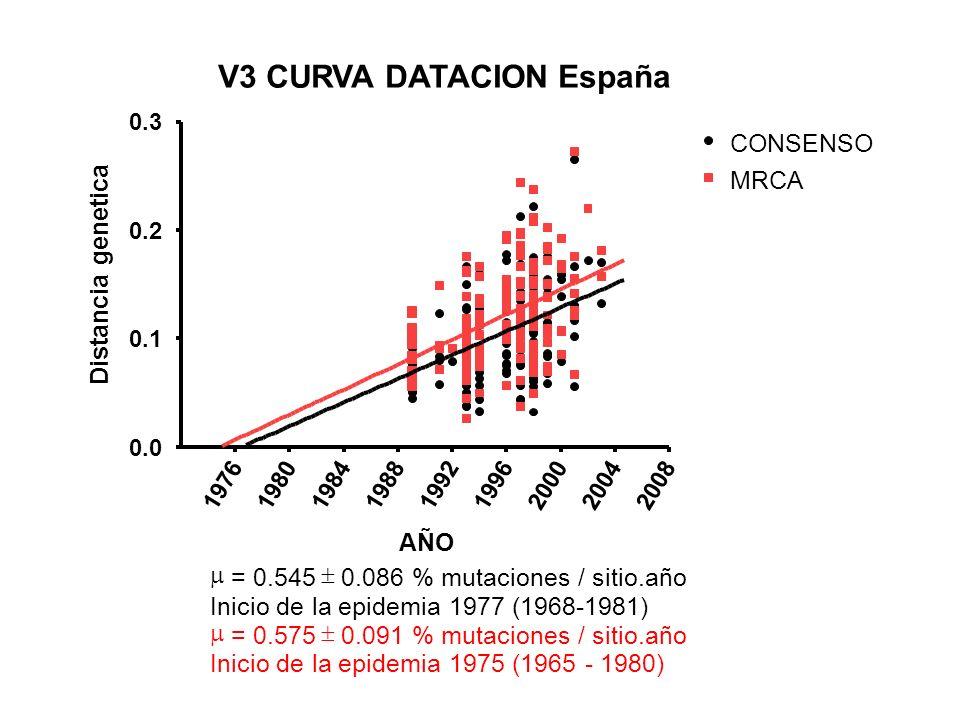 V3 CURVA DATACION España 197619801984198819921996200020042008 0.0 0.1 0.2 0.3 CONSENSO MRCA = 0.545 0.086 % mutaciones / sitio.año Inicio de la epidem