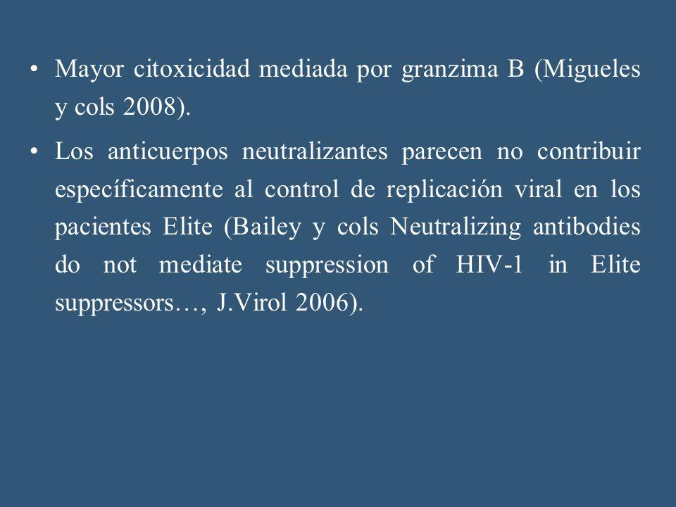 Mayor citoxicidad mediada por granzima B (Migueles y cols 2008). Los anticuerpos neutralizantes parecen no contribuir específicamente al control de re