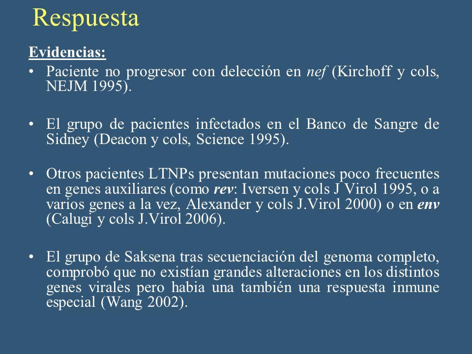 Respuesta Evidencias: Paciente no progresor con delección en nef (Kirchoff y cols, NEJM 1995). El grupo de pacientes infectados en el Banco de Sangre