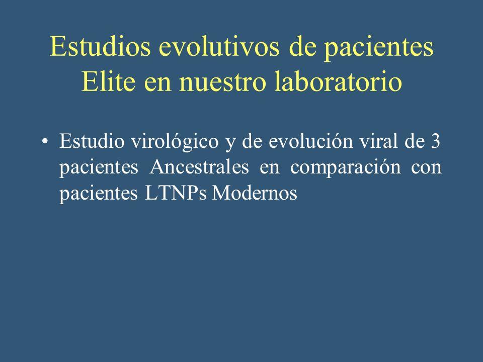 Estudios evolutivos de pacientes Elite en nuestro laboratorio Estudio virológico y de evolución viral de 3 pacientes Ancestrales en comparación con pa