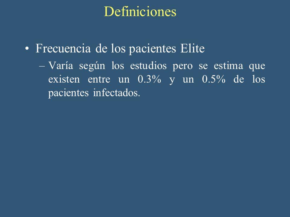 Definiciones Frecuencia de los pacientes Elite –Varía según los estudios pero se estima que existen entre un 0.3% y un 0.5% de los pacientes infectado