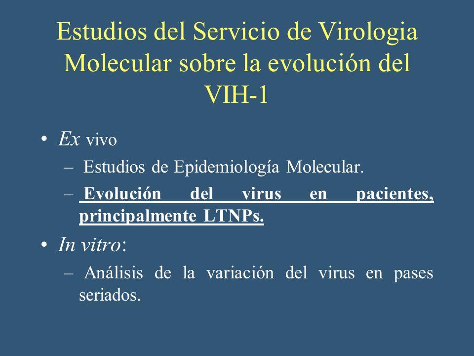 Estudios del Servicio de Virologia Molecular sobre la evolución del VIH-1 Ex vivo – Estudios de Epidemiología Molecular. – Evolución del virus en paci