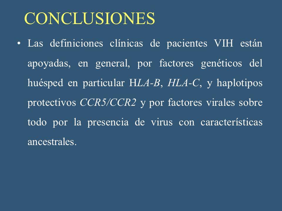 CONCLUSIONES Las definiciones clínicas de pacientes VIH están apoyadas, en general, por factores genéticos del huésped en particular HLA-B, HLA-C, y h