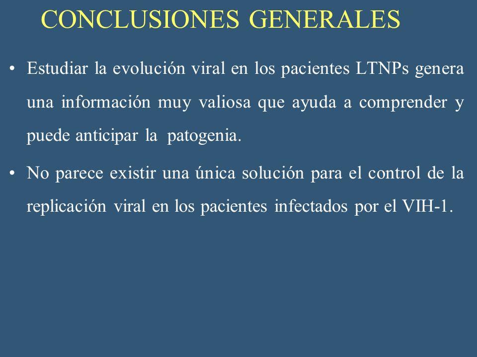 CONCLUSIONES GENERALES Estudiar la evolución viral en los pacientes LTNPs genera una información muy valiosa que ayuda a comprender y puede anticipar