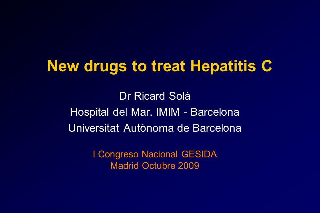 VMD (1200mg) RBV (1000-1200 mg) Viramidina asociada a PegIFN en el tratamiento de la hepatitis C 38 40 52 55 0 10 20 30 40 50 60 VISER 1VISER 2RVS% PegIFN alfa-2b PegIFN alfa-2a 626324644318 5 6 24 22 0 5 10 15 20 25 30 VISER 1VISER 2 Hb < 10 (%) PegIFN alfa-2b PegIFN alfa-2a 626324644318