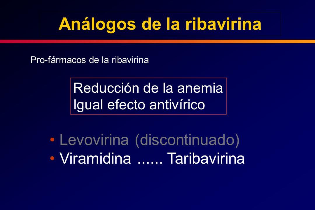 Análogos de la ribavirina Pro-fármacos de la ribavirina Reducción de la anemia Igual efecto antivírico Levovirina (discontinuado) Viramidina...... Tar