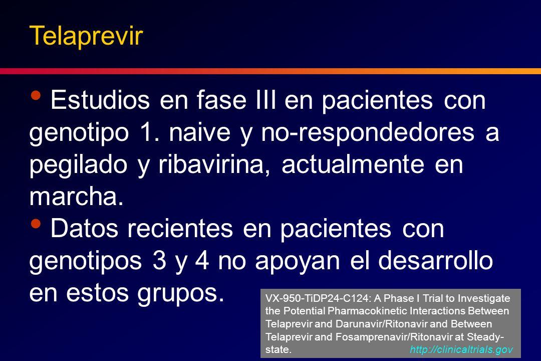 Telaprevir Estudios en fase III en pacientes con genotipo 1. naive y no-respondedores a pegilado y ribavirina, actualmente en marcha. Datos recientes