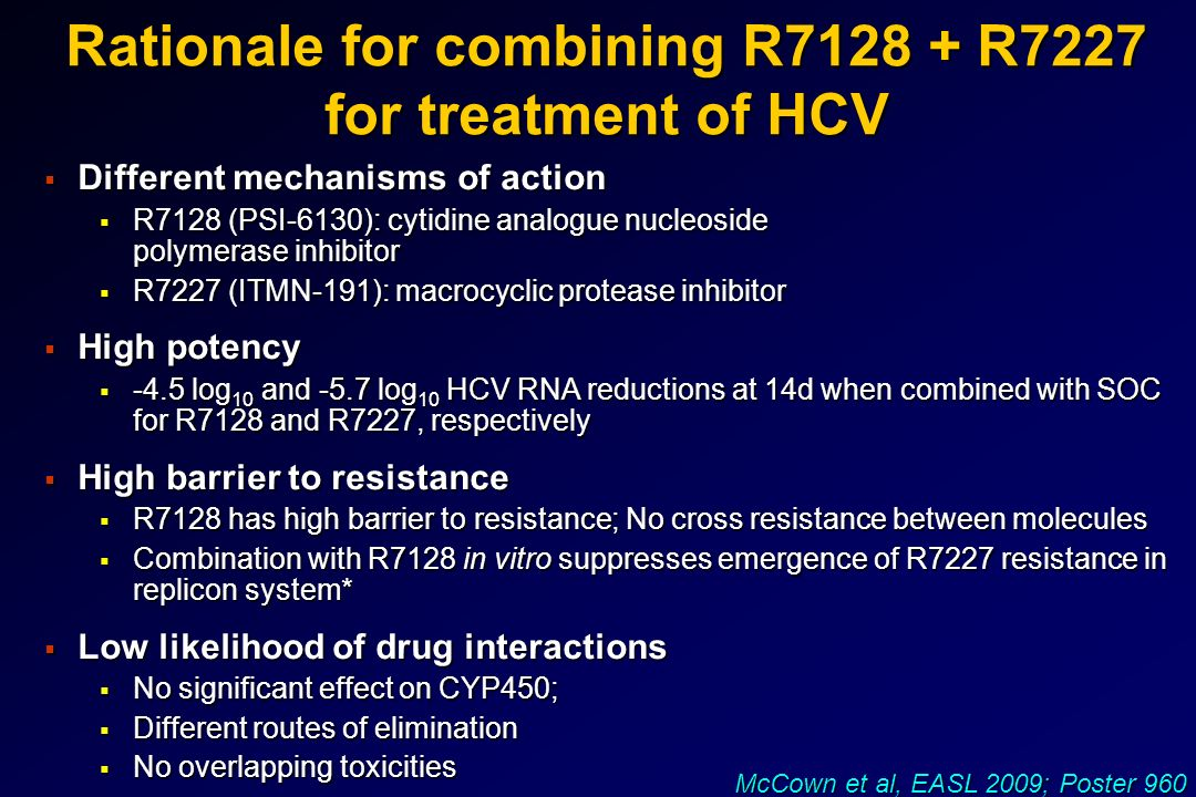 Rationale for combining R7128 + R7227 for treatment of HCV Different mechanisms of action Different mechanisms of action R7128 (PSI-6130): cytidine an
