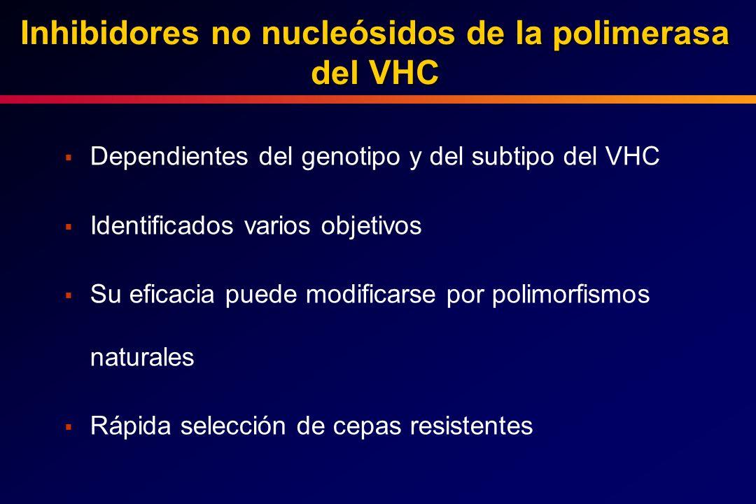 Dependientes del genotipo y del subtipo del VHC Identificados varios objetivos Su eficacia puede modificarse por polimorfismos naturales Rápida selecc