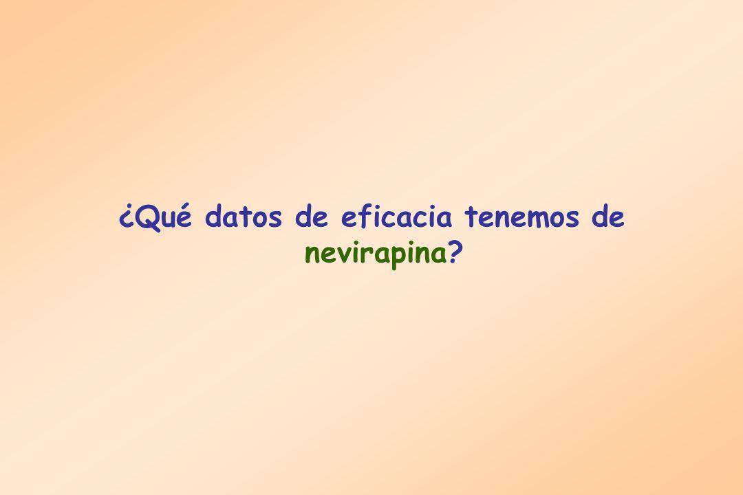 ¿Qué datos de eficacia tenemos de nevirapina?