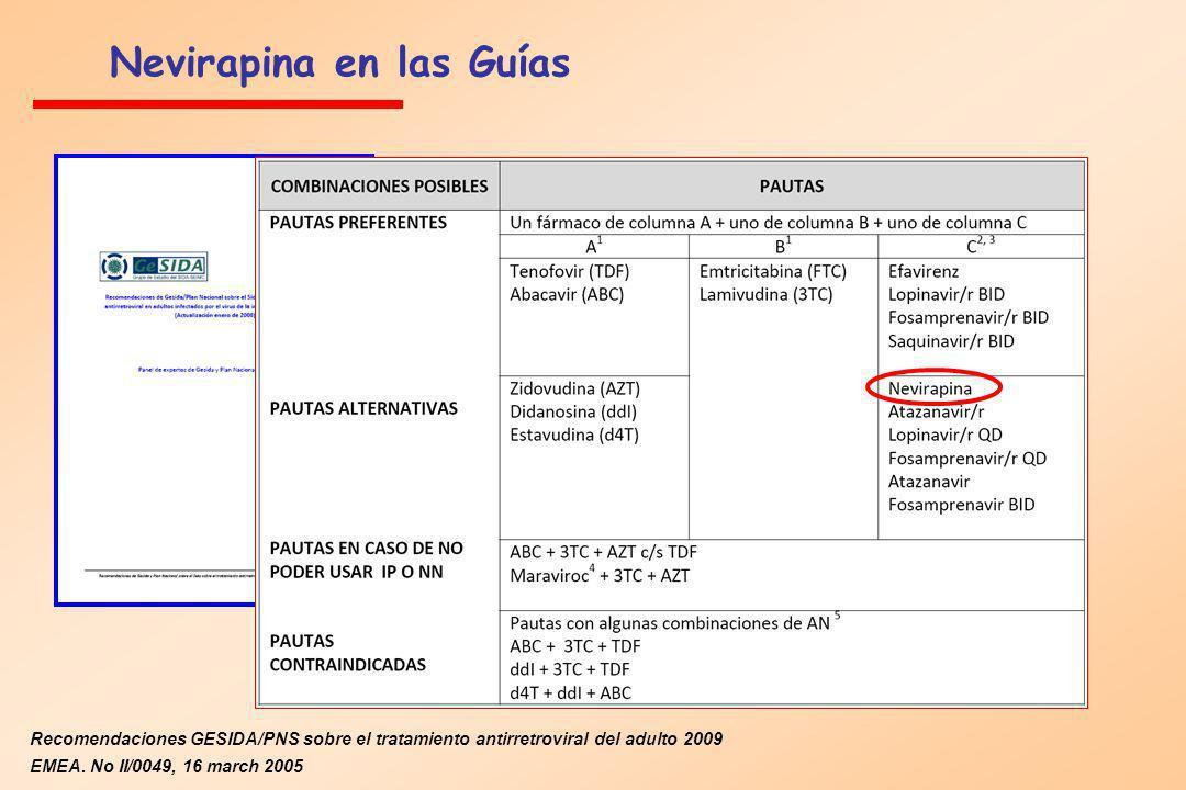 Nevirapina en las Guías Recomendaciones GESIDA/PNS sobre el tratamiento antirretroviral del adulto 2009 EMEA. No II/0049, 16 march 2005