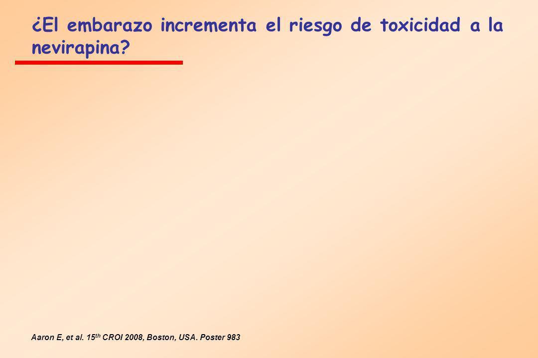 ¿El embarazo incrementa el riesgo de toxicidad a la nevirapina? Aaron E, et al. 15 th CROI 2008, Boston, USA. Poster 983