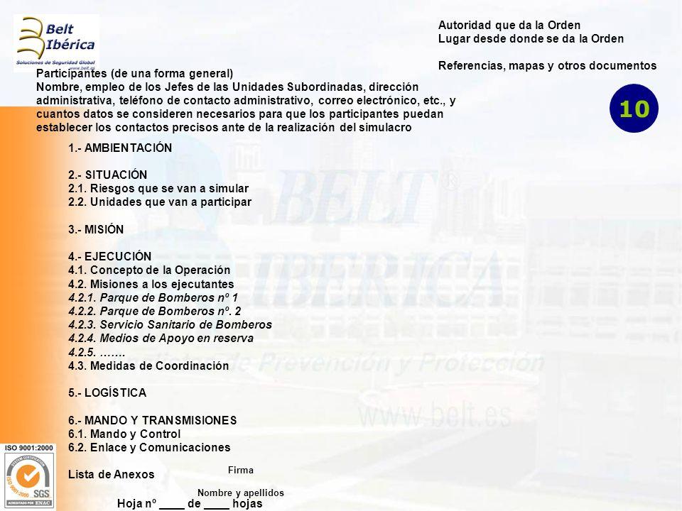 Hoja nº ____ de ____ hojas Autoridad que da la Orden Lugar desde donde se da la Orden Referencias, mapas y otros documentos Participantes (de una forma general) Nombre, empleo de los Jefes de las Unidades Subordinadas, dirección administrativa, teléfono de contacto administrativo, correo electrónico, etc., y cuantos datos se consideren necesarios para que los participantes puedan establecer los contactos precisos ante de la realización del simulacro 1.- AMBIENTACIÓN 2.- SITUACIÓN 2.1.
