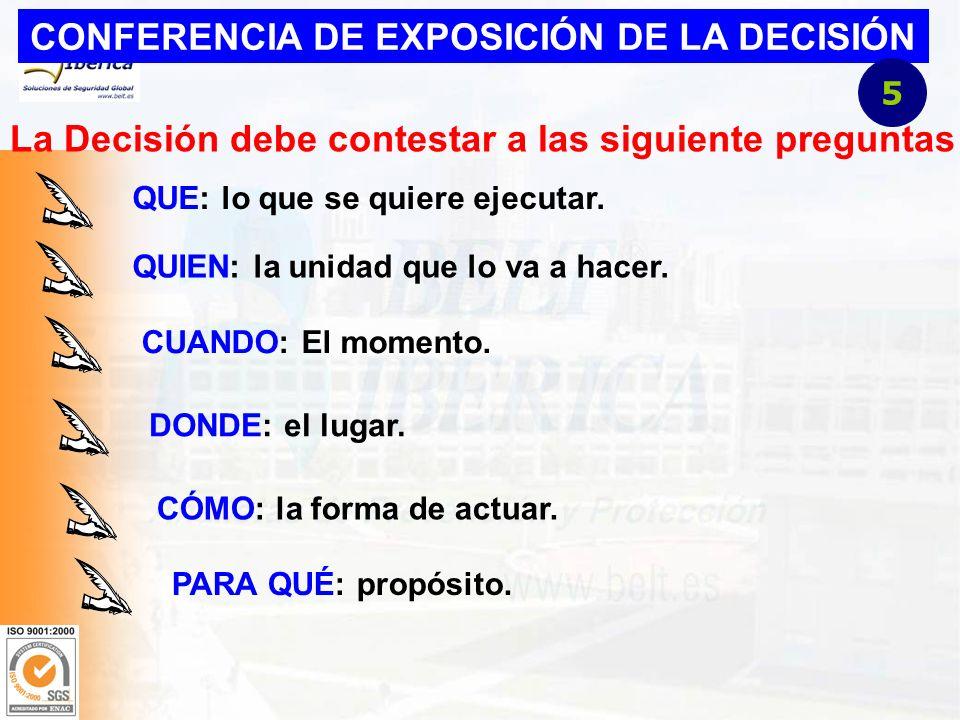 CONFERENCIA DE EXPOSICIÓN DE LA DECISIÓN La Decisión debe contestar a las siguiente preguntas QUE: lo que se quiere ejecutar.