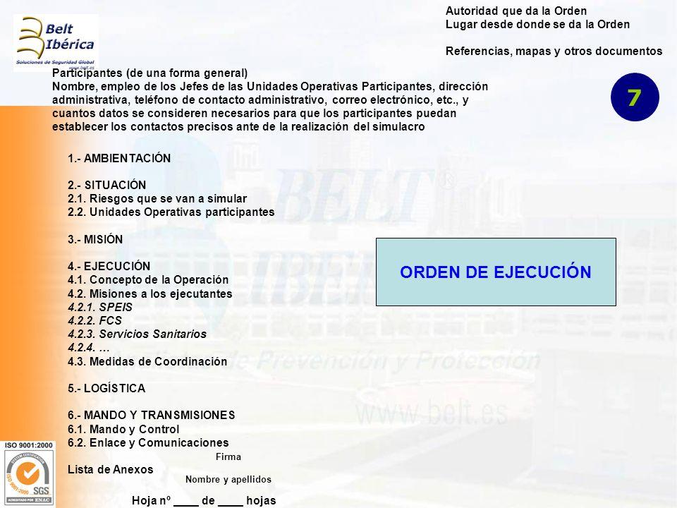 Hoja nº ____ de ____ hojas Autoridad que da la Orden Lugar desde donde se da la Orden Referencias, mapas y otros documentos Participantes (de una forma general) Nombre, empleo de los Jefes de las Unidades Operativas Participantes, dirección administrativa, teléfono de contacto administrativo, correo electrónico, etc., y cuantos datos se consideren necesarios para que los participantes puedan establecer los contactos precisos ante de la realización del simulacro 1.- AMBIENTACIÓN 2.- SITUACIÓN 2.1.