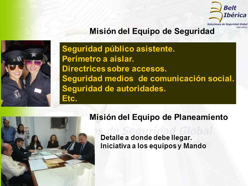 Misión del Equipo de Seguridad Seguridad público asistente. Perímetro a aislar. Directrices sobre accesos. Seguridad medios de comunicación social. Se