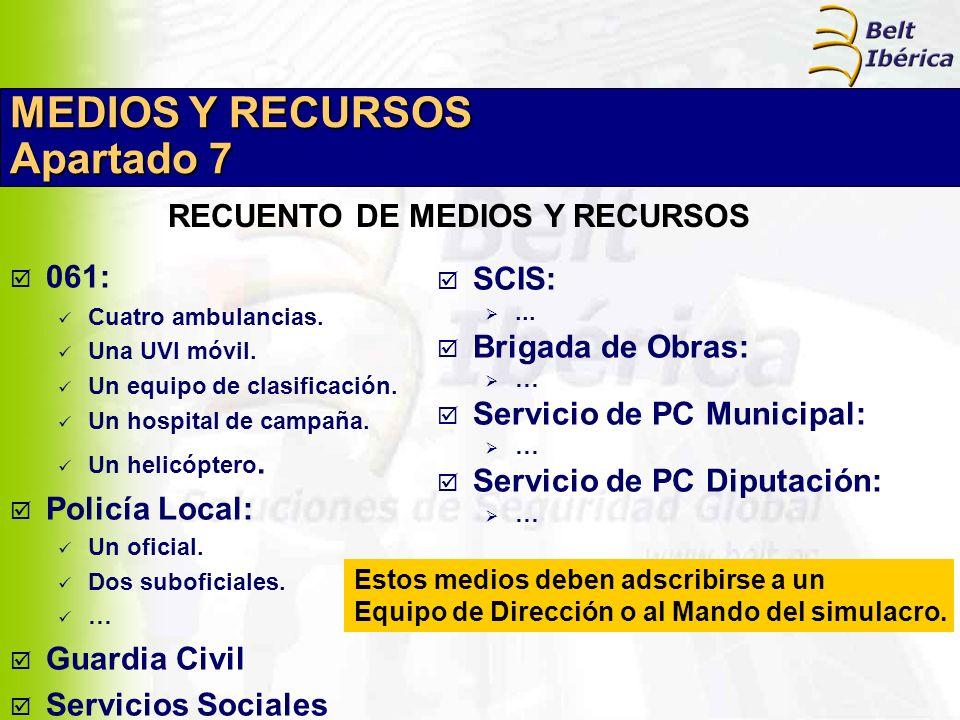 MEDIOS Y RECURSOS Apartado 7 061: Cuatro ambulancias. Una UVI móvil. Un equipo de clasificación. Un hospital de campaña. Un helicóptero. Policía Local