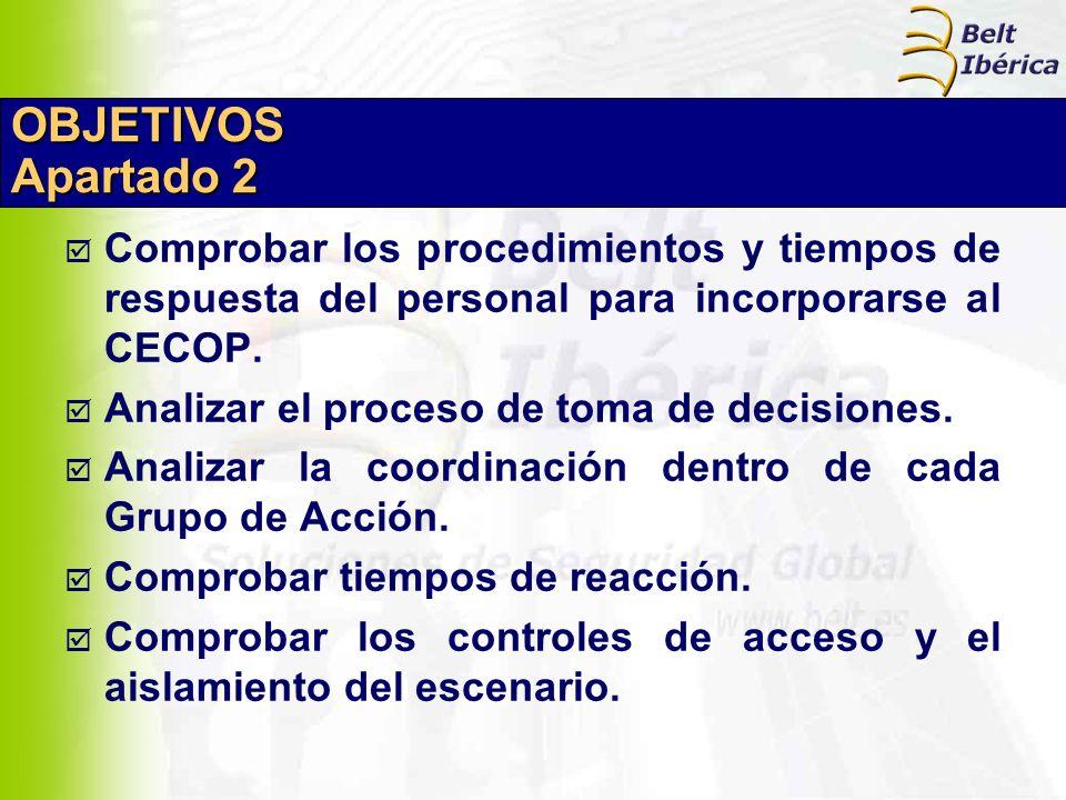 OBJETIVOS Apartado 2 Comprobar los procedimientos y tiempos de respuesta del personal para incorporarse al CECOP. Analizar el proceso de toma de decis