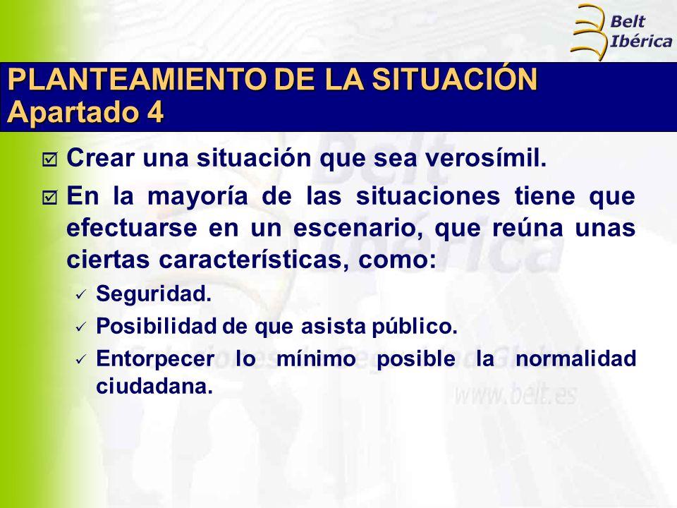 PLANTEAMIENTO DE LA SITUACIÓN Apartado 4 Crear una situación que sea verosímil. En la mayoría de las situaciones tiene que efectuarse en un escenario,