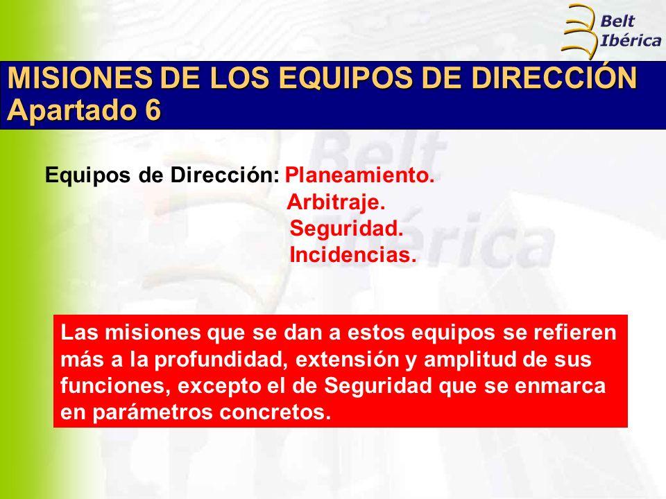 MISIONES DE LOS EQUIPOS DE DIRECCIÓN Apartado 6 Equipos de Dirección: Planeamiento. Arbitraje. Seguridad. Incidencias. Las misiones que se dan a estos