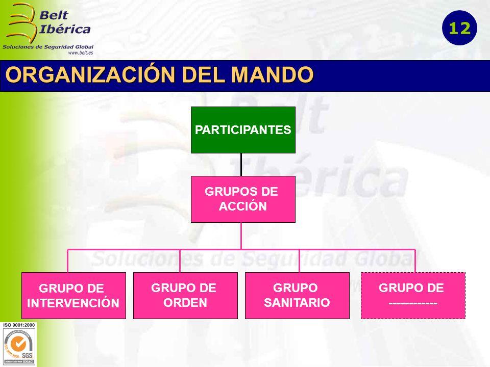 ORGANIZACIÓN DEL MANDO PARTICIPANTES GRUPOS DE ACCIÓN GRUPO DE INTERVENCIÓN GRUPO DE ORDEN GRUPO SANITARIO GRUPO DE ------------ 12