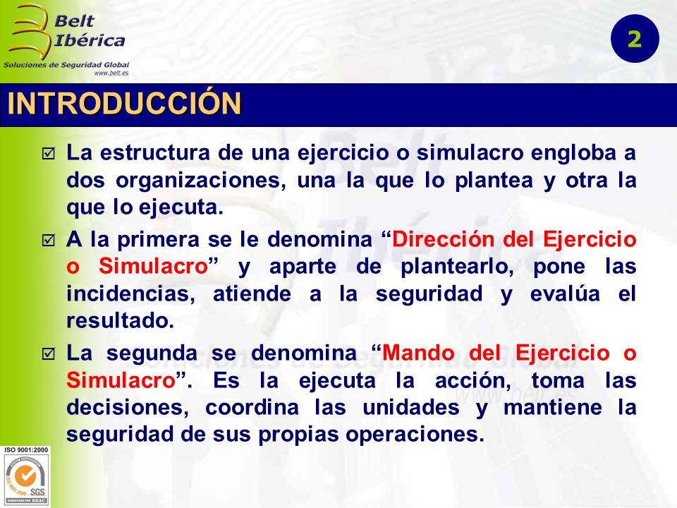 INTRODUCCIÓN La estructura de una ejercicio o simulacro engloba a dos organizaciones, una la que lo plantea y otra la que lo ejecuta. A la primera se