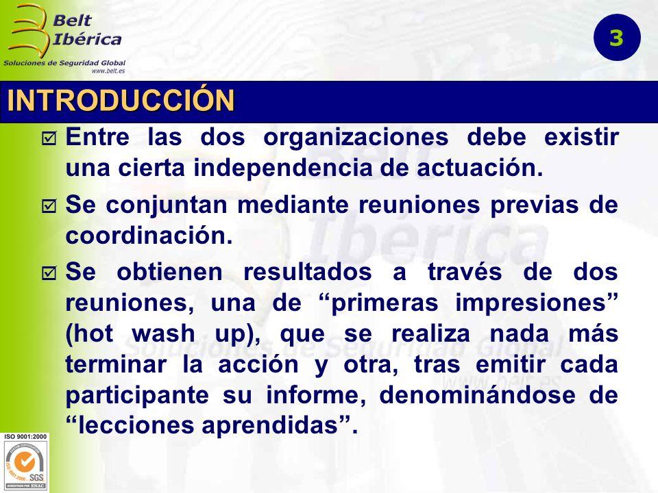 INTRODUCCIÓN Entre las dos organizaciones debe existir una cierta independencia de actuación. Se conjuntan mediante reuniones previas de coordinación.