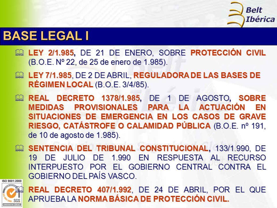 LEY 2/1.985, DE 21 DE ENERO, SOBRE PROTECCIÓN CIVIL (B.O.E.