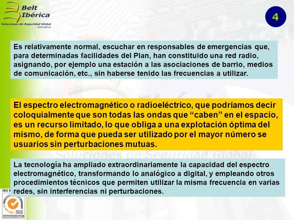 Es relativamente normal, escuchar en responsables de emergencias que, para determinadas facilidades del Plan, han constituido una red radio, asignando, por ejemplo una estación a las asociaciones de barrio, medios de comunicación, etc., sin haberse tenido las frecuencias a utilizar.