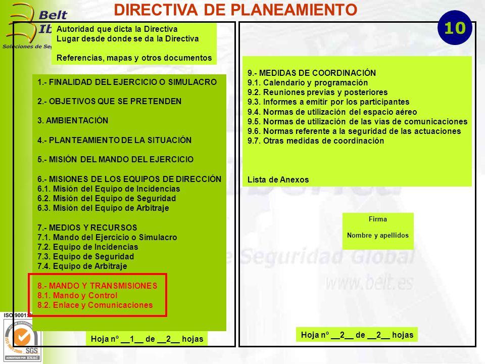 Hoja nº __1__ de __2__ hojas Autoridad que dicta la Directiva Lugar desde donde se da la Directiva Referencias, mapas y otros documentos 1.- FINALIDAD DEL EJERCICIO O SIMULACRO 2.- OBJETIVOS QUE SE PRETENDEN 3.