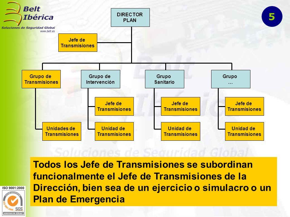 DIRECTOR PLAN Grupo de Transmisiones Grupo de Intervención Grupo Sanitario Grupo … Jefe de Transmisiones Jefe de Transmisiones Unidad de Transmisiones Unidades de Transmisiones Jefe de Transmisiones Unidad de Transmisiones Jefe de Transmisiones Unidad de Transmisiones Todos los Jefe de Transmisiones se subordinan funcionalmente el Jefe de Transmisiones de la Dirección, bien sea de un ejercicio o simulacro o un Plan de Emergencia 5
